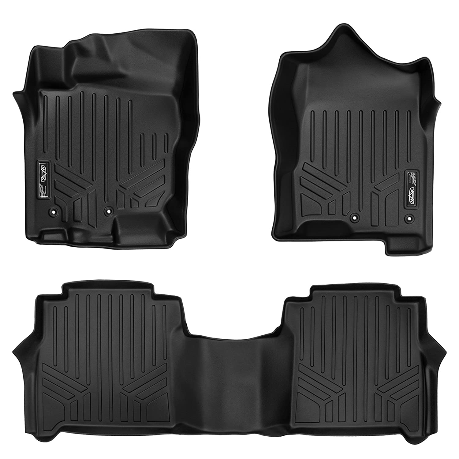 MAXLINER A0216/B0216 Floor Mats Set Black for Crew Cab 2017-2019 Titan / 2016-2019 Titan XD (with Rear Under Seat Organizer)