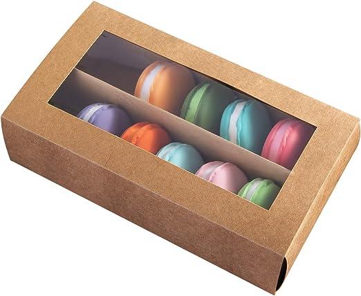 Macarons Caja para 12 Macaron Contenedor Macaroon cajas de embalaje con ventana transparente 7.4 pulgadas × 4.1 pulgadas × 2 pulgadas (15, marrón): Amazon.es: Hogar