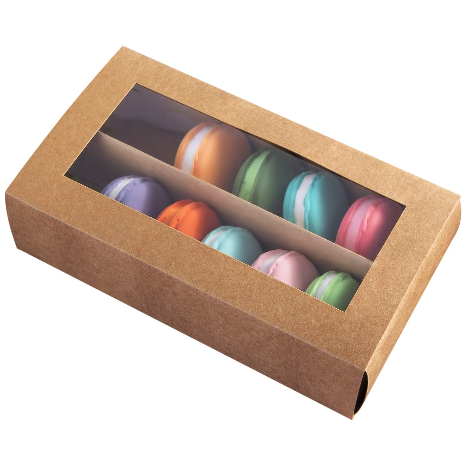 [30pcs]Brown Macarons Boxes of 12 Cavity, 8inch Large Macaron Container Kraft Cardboard Packaging Bakery Box with Clear Window Lid also fits for Muffins and Cookie 8inch×5inch×2 inch,Pack of 30