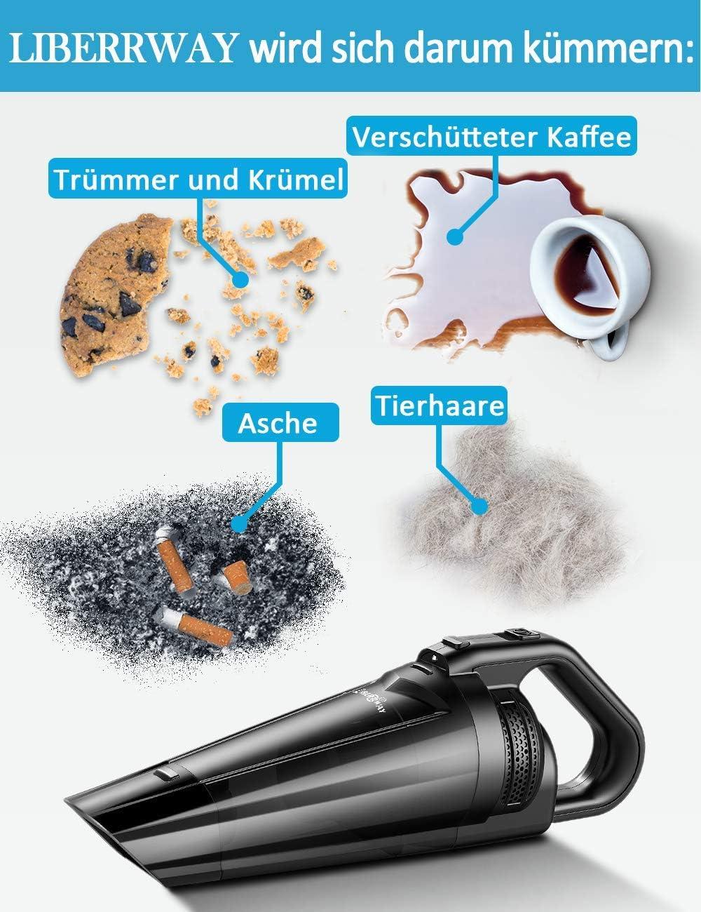 Aspiradora de mano seco y mojado, 100 W /– Aspirador cicl/ónico, 14.8 V lithum /– Bater/ía de ion de litio, carga r/ápida Tech LIBERRWAY bater/ía aspirador inal/ámbrico para coches Hogar