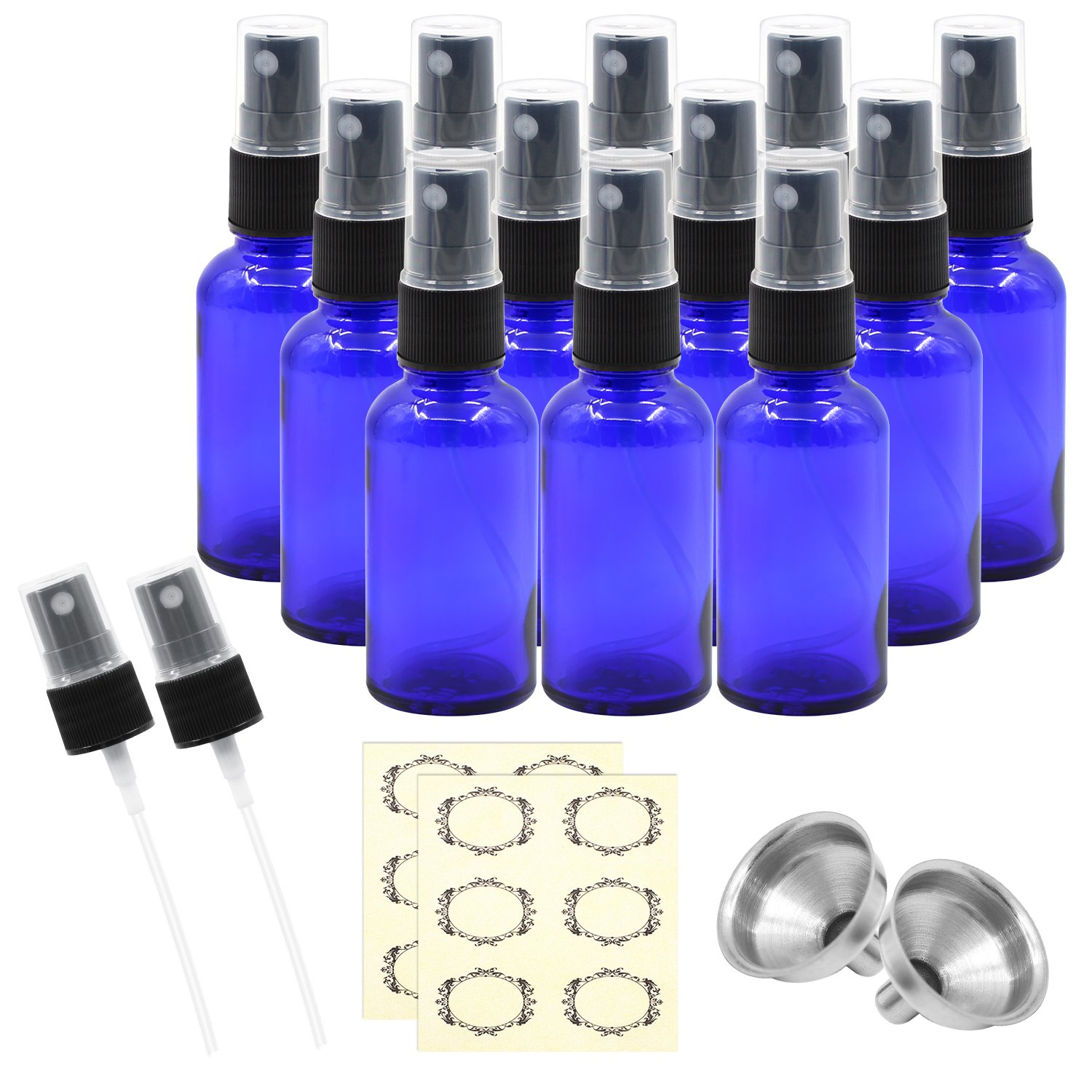 Pack of 12, 1 oz Cobalt Blue Glass Bottles with Black Fine Mist Sprayers by Mavogel,Including 2 Extra Black Fine Mist Sprayers, 2 Stainless Steel Mini Funnel,2 Transfer Pipettes, 12 Bottle Labels