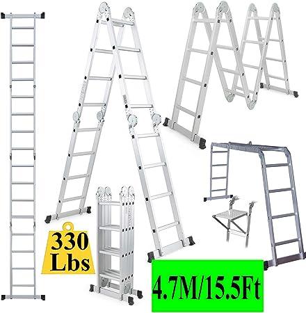 Wghz Escalera de andamio 15.5 pies Ex-Large Gaint de Servicio Pesado Aluminio Escalera Plegable multipropósito Escaleras de extensión Escalera de peldaño de 4 peldaños Escalera Plegable Escalera: Amazon.es: Hogar
