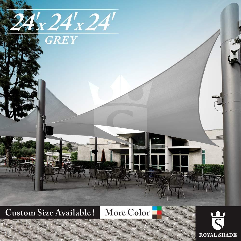 Royal Shade 24' x 24' x 24' Gray Triangle Sun Shade Sail Canopy Outdoor Patio Fabric Shelter Cloth Screen Awning - 95% UV Protection, 200 GSM, Heavy Duty, 5 Years Warranty, We Make Custom Size by Royal Shade