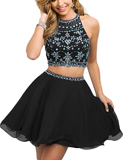 Fanciest Womens Beaded Two Pieces Prom Dresses Short Cocktail Homecoming Dress Black US2