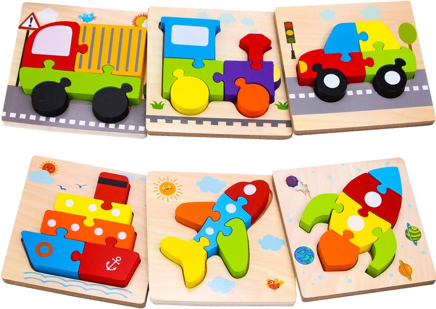 SKYFIELD Wooden Gift Toys for 1 2 3 Years Old Boys Girls. Toddler Car Truck Train Puzzle Learning Educational Toys, Stem Montessori Toy for Baby 12 Month and Up. 6 Puzzle Sets (Vehicle Puzzles)