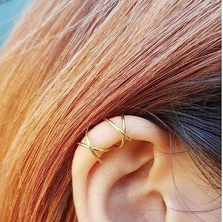 double boucle d'oreille or