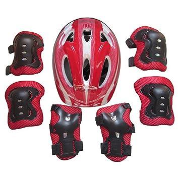 Yvsoo Protecciones Patines Niño 7Pcs Casco Brazales Protector de odo Rodillera Equipo de Protección para Skate Ciclismo, 5-11 años (Rojo): Amazon.es: ...
