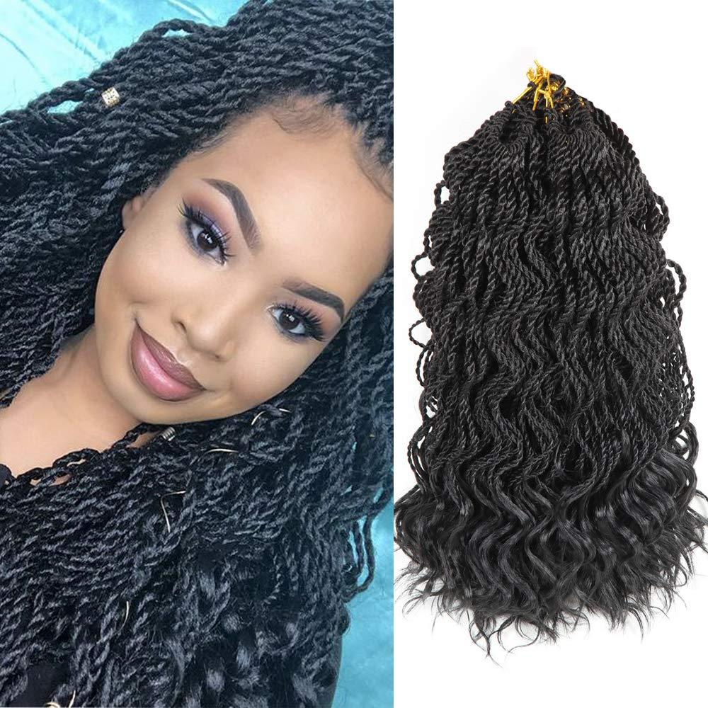 3packs 14 Ombre Deep Senegalese Twist Crochet Hair Braids Wavy Ends Free Synthetic Hair Extensions Kanekalon Braiding Hair Havana Mombo Dreadlocks