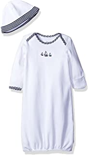 2fb23bdd7 Amazon.com: Little Me Chevron Blue and White Zig Zag Bear Gown Hat ...