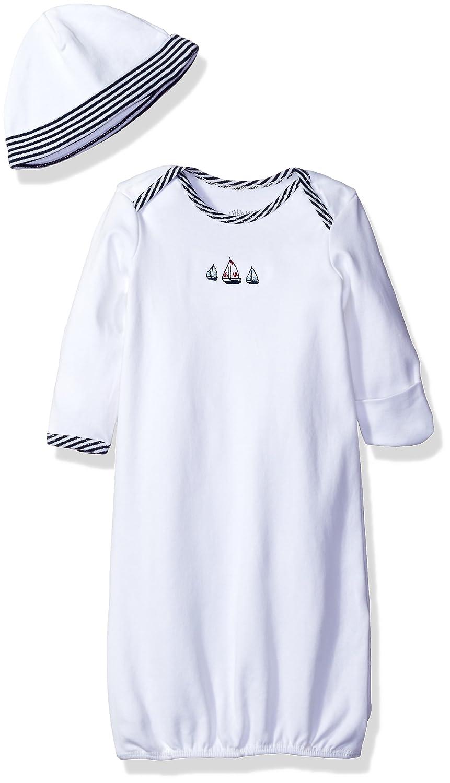 Little Me Boys' 2-Piece Gown & Hat Set Sailboats 0-3 Months LBQ03522N