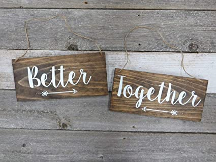 Amazon.com: WoodenSign Cartel de boda de Madera rústica ...