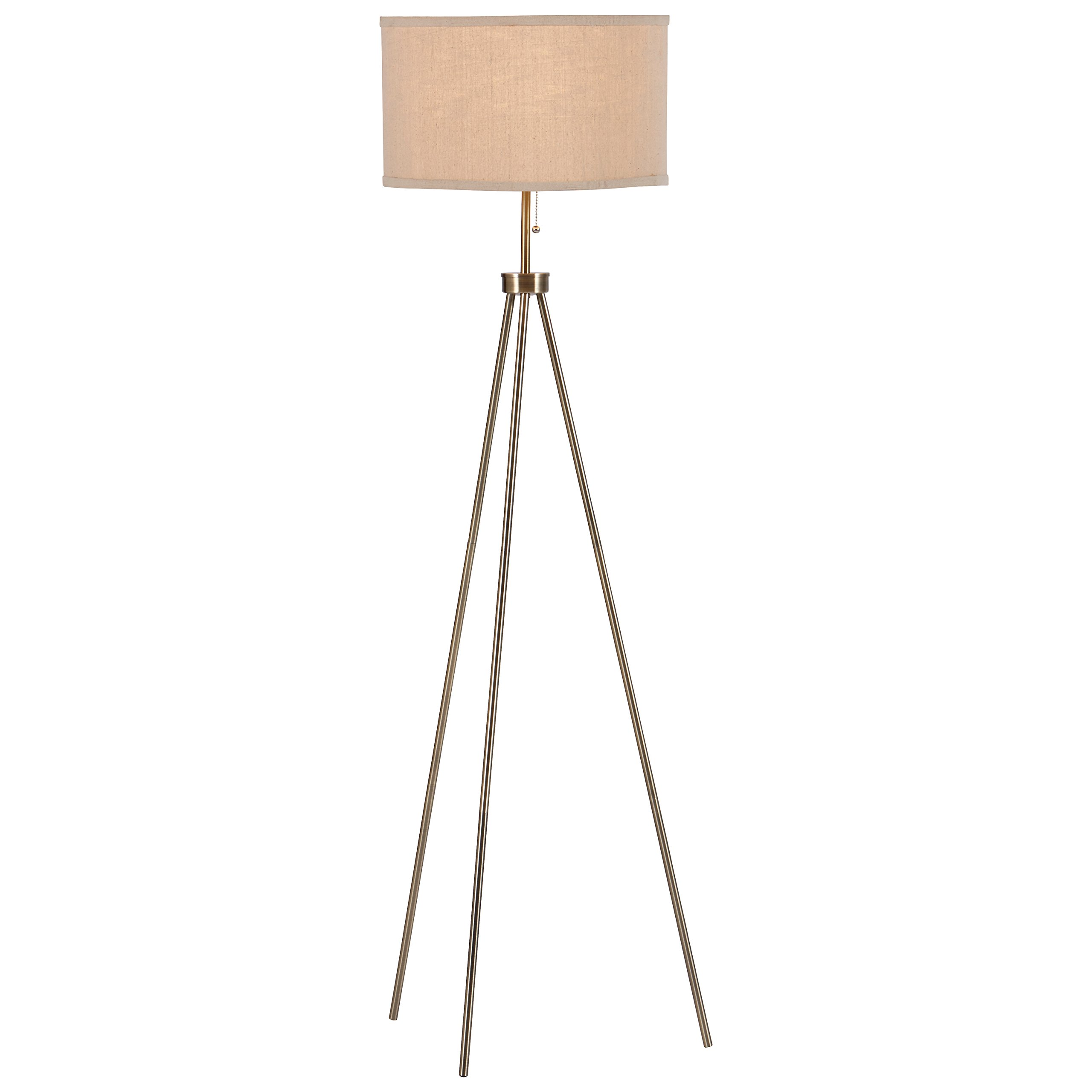 Rivet Minimalist Tripod Floor Lamp with Bulb, 15'' x 15'' x 58.25'', Antique Brass
