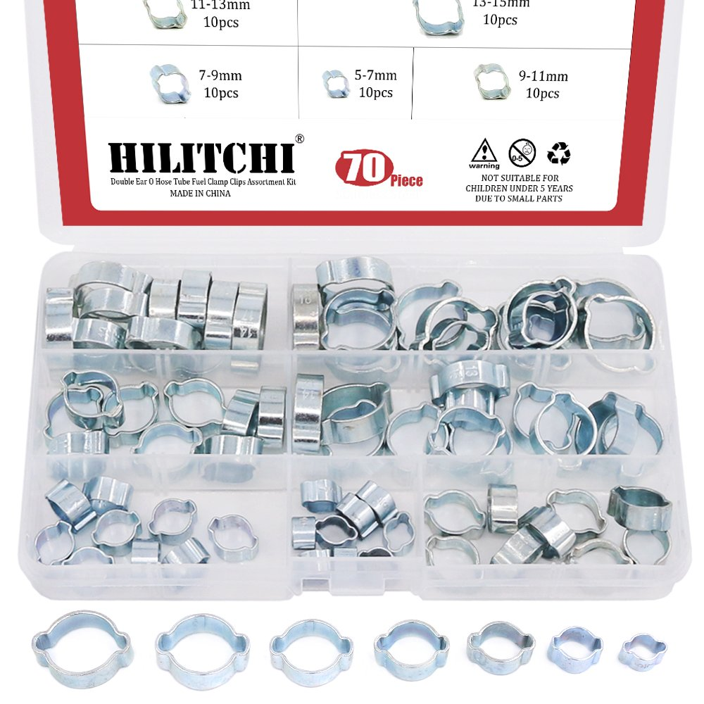 Hilitchi 70-Pcs Zinc Plated Double Ear O Clips Hose Tube Fuel Clamp Assortment Kit - 7-Size