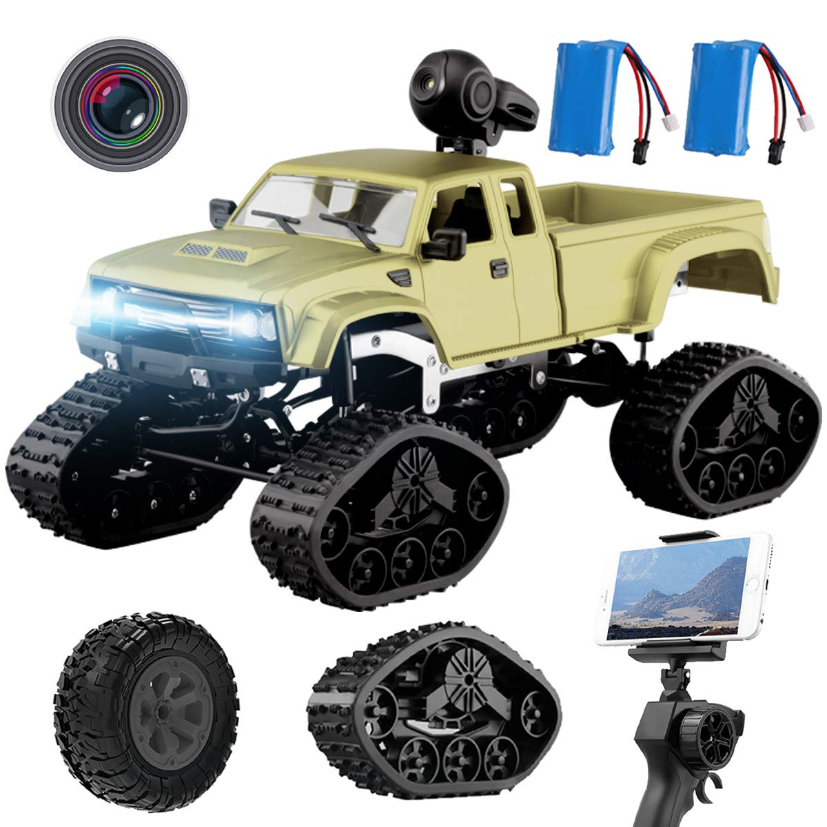 REMOKING RC Hobby Toys Military Truck Off-Road Sport Cars 4WD 2.4Ghz Rock Crawler Vehicle with Wi-Fi HD Camera Gifts for Kids and Adults(Included 2 Kinds of Wheels 2 Batteries)