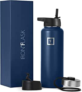 Iron Flask Sports Water Bottle - 14oz, 18oz, 22oz, 32oz, 40oz, 64oz, 3 Lids (Straw Lid),Vacuum Insulated Stainless Steel, Hot Cold, Modern Double Walled, Simple Thermo Mug, Hydro Metal Canteen