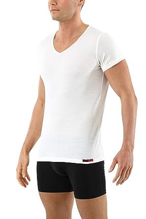 4ae5159e7e56 Albert Kreuz Merino Wolle Kurzarm Herren Unterhemd V-Ausschnitt wollweiß  ultrafein feuchtigkeitsregulierend  Amazon.de  Bekleidung