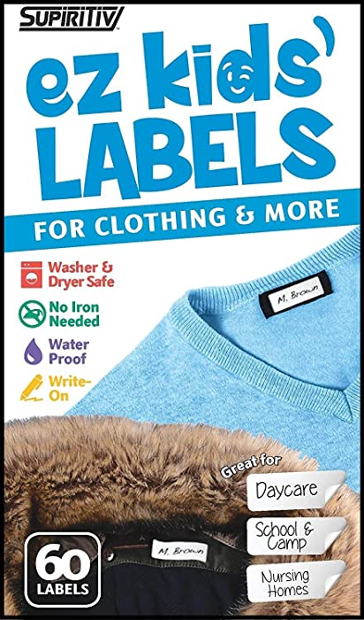 Back to School No Iron Self Stick Write On Clothing Labels | Great for Children & Adults | Washer & Dryer Safe | School, Camp, Nursing Care, Toys, Organizing, All Purpose | 1 Sheet of 60 Blank Labels
