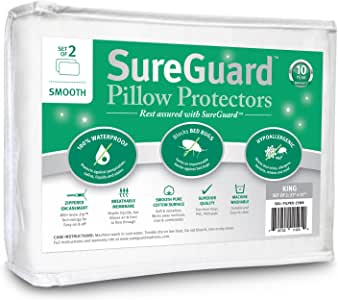 Set of 2 King Size SureGuard Pillow Protectors - 100% Waterproof, Bed Bug Proof, Hypoallergenic - Premium Zippered Cotton Covers - 10 Year Warranty - Smooth