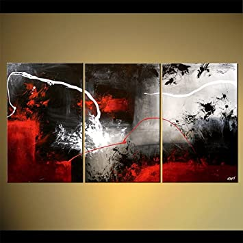Amazon.de: Handbemaltes 3 Stück schwarz weiß rot abstrakt modern Öl ...