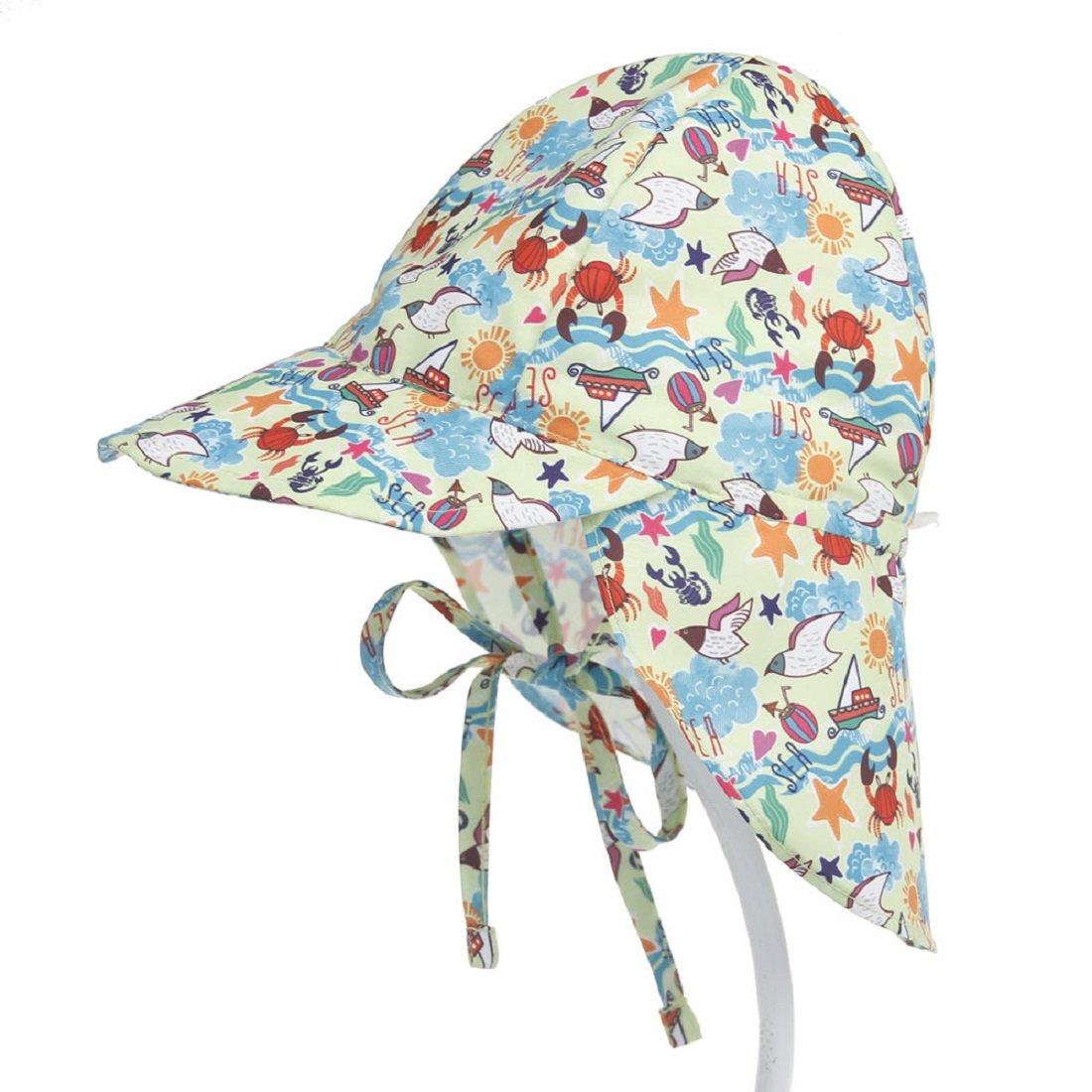 Boomly Bébé Enfant Chapeau de Soleil UV50 + Protection Été Pêche Chapeaux de Plage Pliable Beach Cap avec mentonnière réglable Séchage Rapide Casquette extérieure