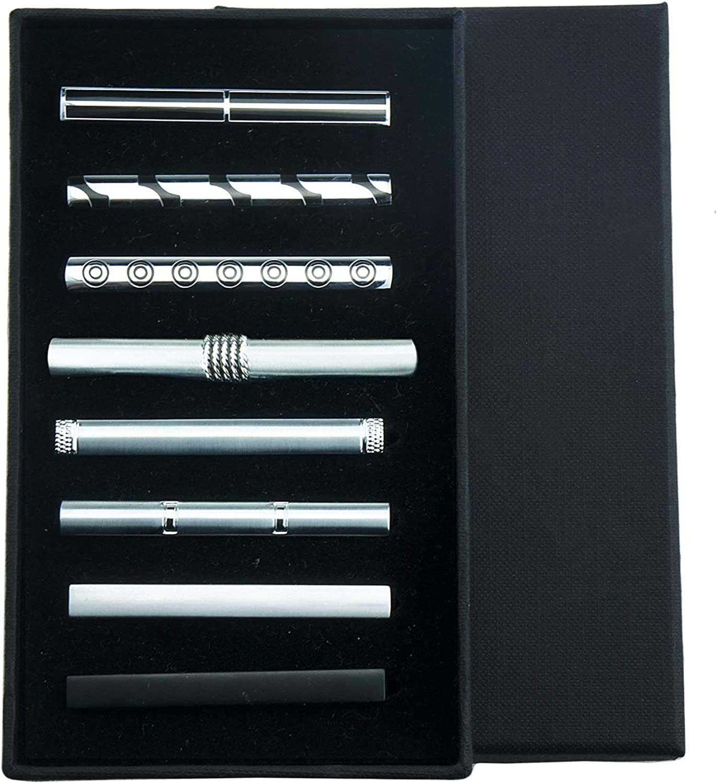 UJOY Metallic Colored Tie Clips Mens Shirts Necktie Bar Pinch Pin Fashion Jewelry Gift Box