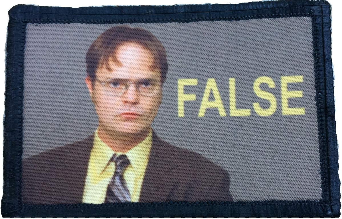 """The Office Dwight Schrute""""False"""" Morale Patch Funny Tactical Military 2x3"""" Hook and Loop"""