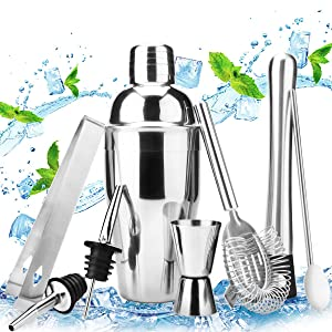 18oz Stainless Steel Cocktail Shaker Bar Set Tools with Martini Mixer, Double Measuring Jigger, Mixing Spoon, Liquor Pourers, Muddler, Strainer and Ice Tongs Professional Bartender Bar Accessories