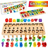 CozyBomB Wooden Number Puzzle Sorting Montessori Toys for Toddlers - Shape Sorter Counting Game for Age 3 4 5 Year olds Kids