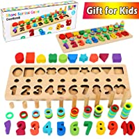 CozyBomB Wooden Number Puzzle Sorting Montessori Toys for Toddlers - Shape Sorter...