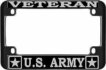 Ferreus Industries Black Powdercoat Car Truck License Plate Frame Veteran Eagle American Flag Veteran 1 Piece LIC-144-Black