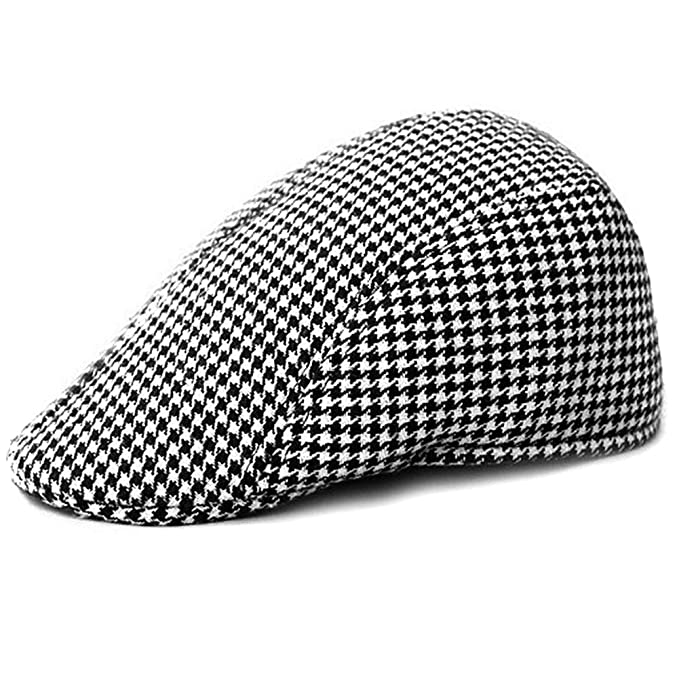 041a220b41284 Image Unavailable. Image not available for. Color  LOCOMO Retro Houndstooth  Check Checker Print Pattern Flat Cap FFH119BLK