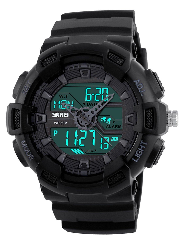 Fanmis Men's Analog Digital LED Watches Military Multifunctional Waterproof Quartz Sports Wrist Watch Black