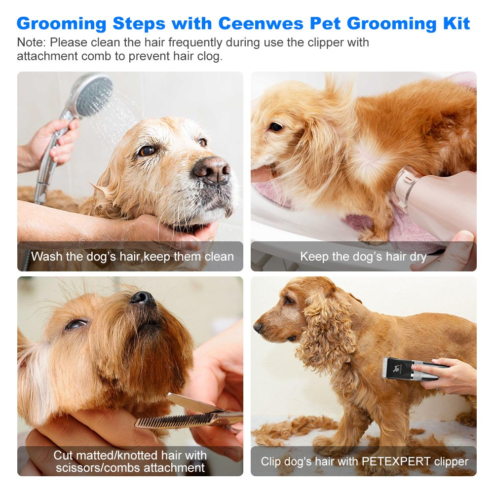 PetExpert Dog Clippers Cordless Dog Grooming Clippers Kit Rechargeable Quiet Pet Hair Clippers Trimmer with 10 Dog Grooming Tools for Dogs, Cats and Other Pets by PetExpert