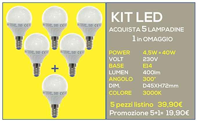 Kit Promo, 5 bombillas + 1 Omaggio a LED bulbo E14 – 4,5