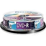 Philips DVD-R Rohlinge (4.7 GB Data/120 Minuten Video, 16x High-Speed-Aufnahme, 10er Spindel)