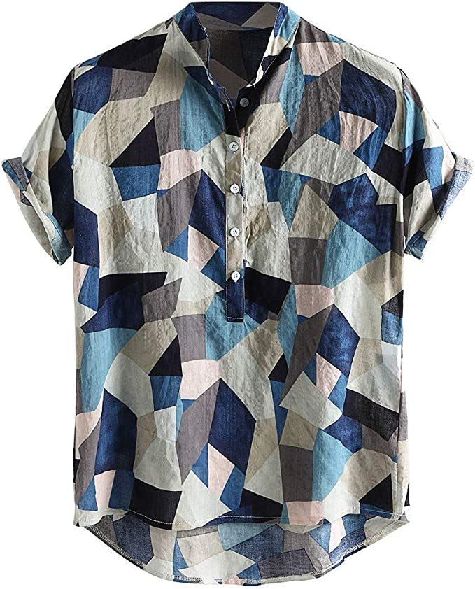 Males Stylish Tops Mens Hawaiian Leaf Printed Turn Down Collar Short Sleeve Loose Shirts