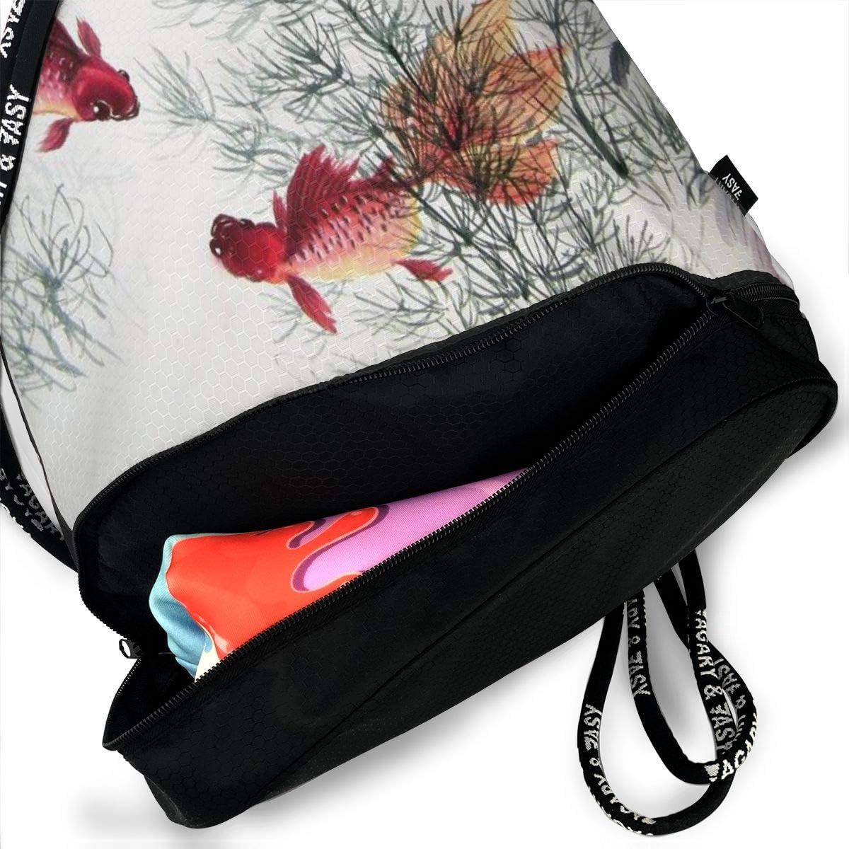 GymSack Drawstring Bag Sackpack Painting Fishes Sport Cinch Pack Simple Bundle Pocke Backpack For Men Women