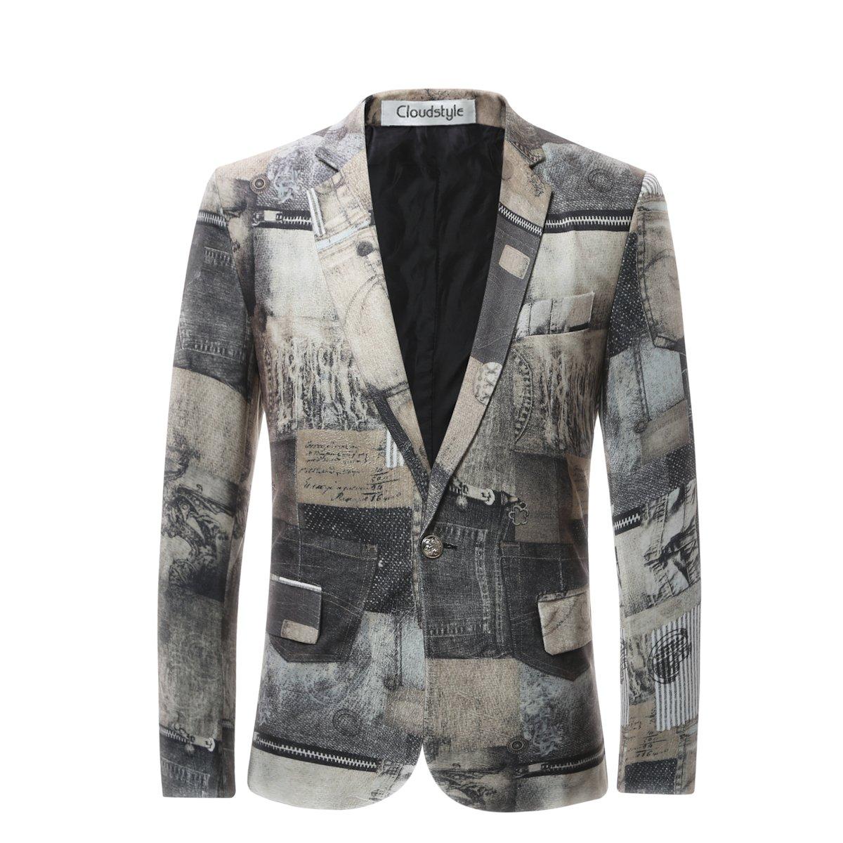 Cloudstyle Men's Blazer Slim Fit Notched Lapel Suit Jacket Coat HK920604