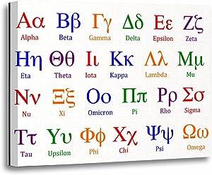 TORASS Canvas Wall Art Print Symbols Greek Alphabet Colorful Upper Science Artwork for Home Decor 12