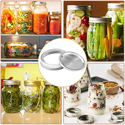 24 Pack Canning Lids 3.38Inch Split-Type Lids Leak Proof and Secure Canning Jar Caps Reusable Wide Mouth Mason Jar Lids with Silicone Seals Rings