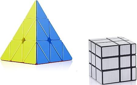 TEMSON Babytintin High Speed Stickerless Pyraminx and Mirror Magic Silver Colors 3D Rubik Cube Puzzle -Combo Set of 2