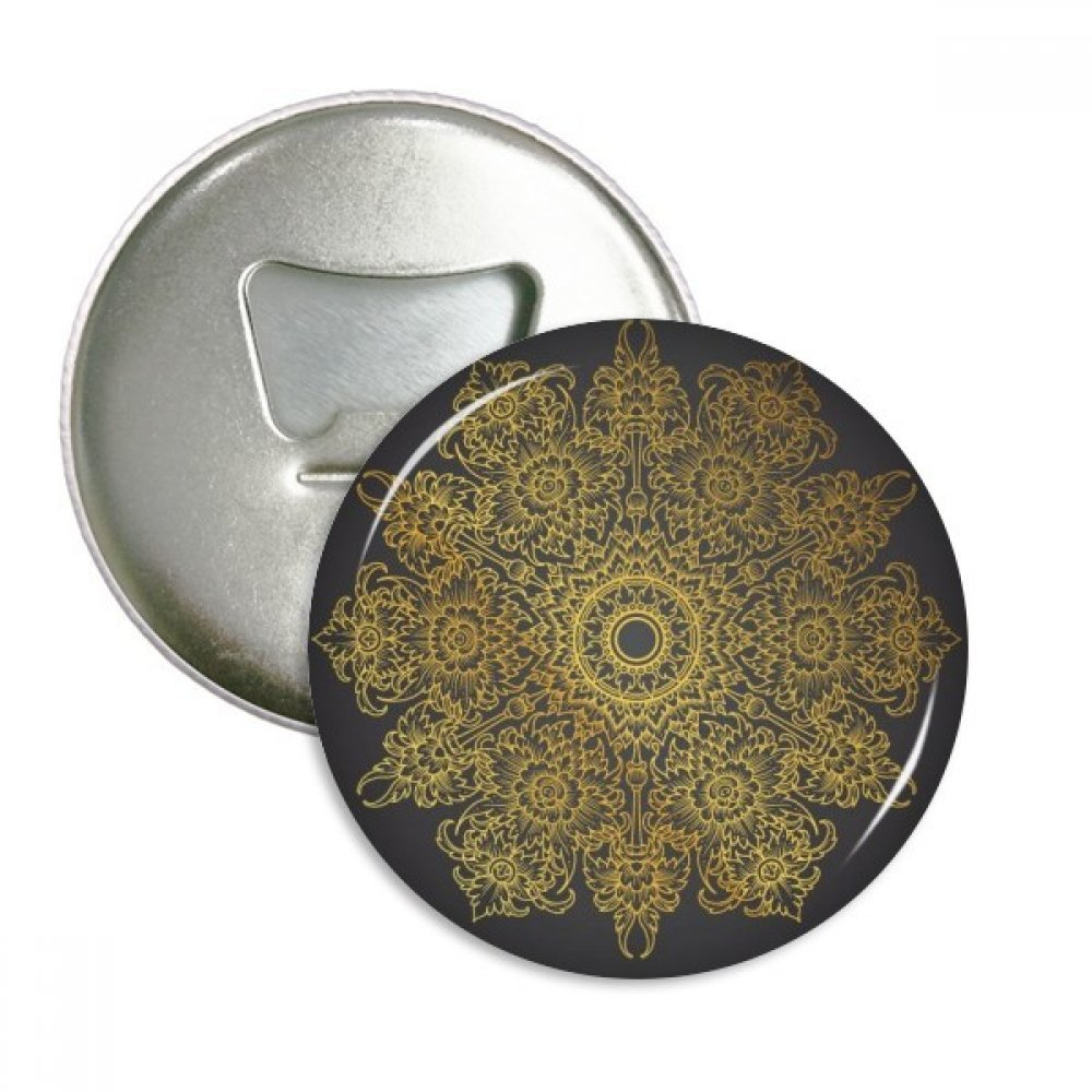 Thai Customs Culture Spread Gold Foil Round Bottle Opener Refrigerator Magnet Pins Badge Button Gift 3pcs