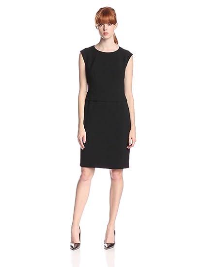 Anne Klein Womens Cap Sleeve Peplum Dress Black 4 At Amazon