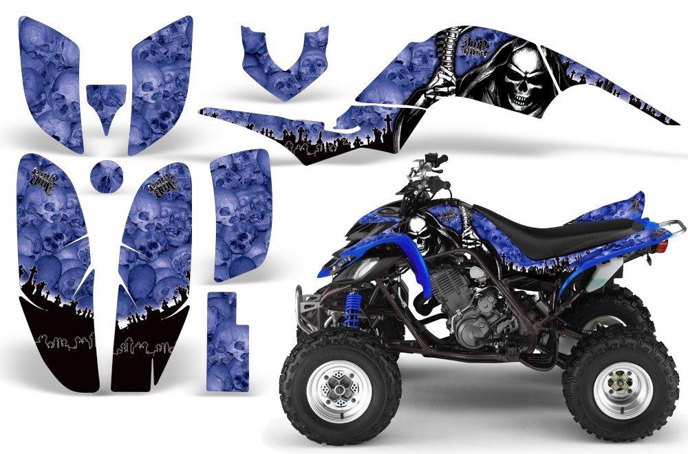 2001-2005- Yamaha Raptor 660 AMRRACING ATV Graphics Decal Kit:Reaper-Blue AMR Racing