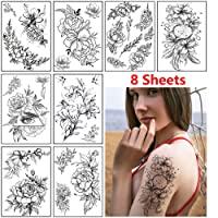 Rose Flower Temporary Tattoo Stickers for Women Adults Sexy Black Floral Tattoo...