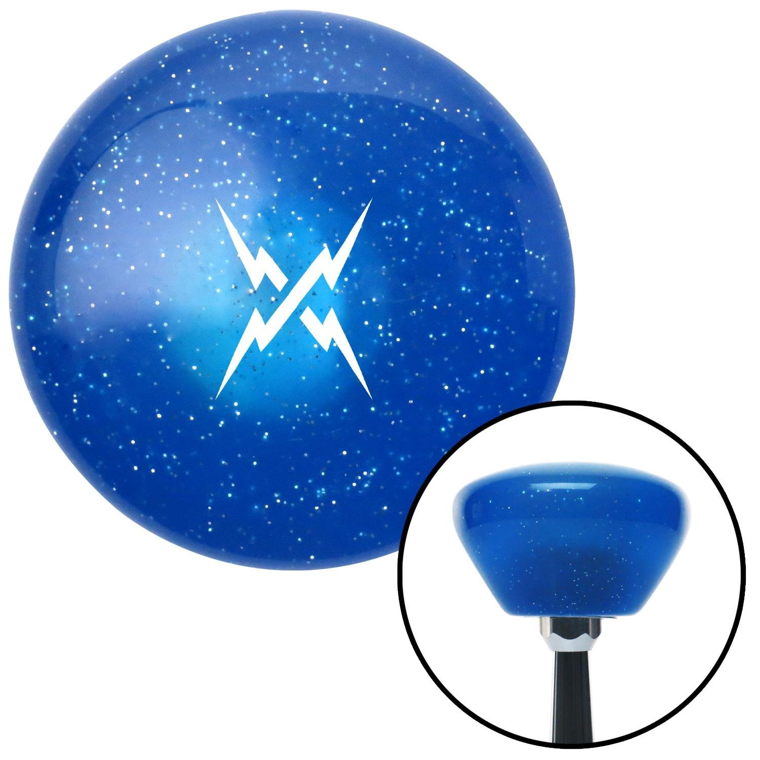 American Shifter 289791 Shift Knob White Lightning Crossed Blue Retro Metal Flake with M16 x 1.5 Insert