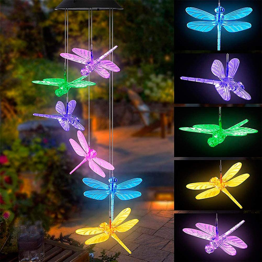 Tvoip Color Changing LED Solar Power Lamp Dragonfly Wind Chimes Garden Decoration Yard Waterproof LED Light Lighting Hanging Decor (Dragonfly)