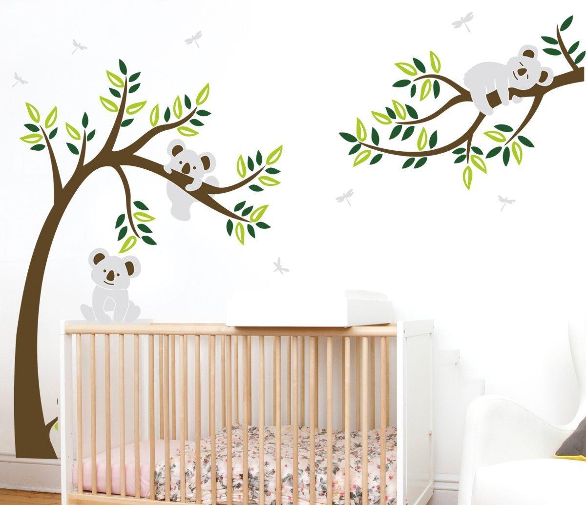 ALiQing Nursery Wall Decals~Family Tree Wall Decal Koala Bear Wall Stickers  Kids Baby Bedroom Wall Decor (225cm Width x 150cm Height) (Brown,Green)