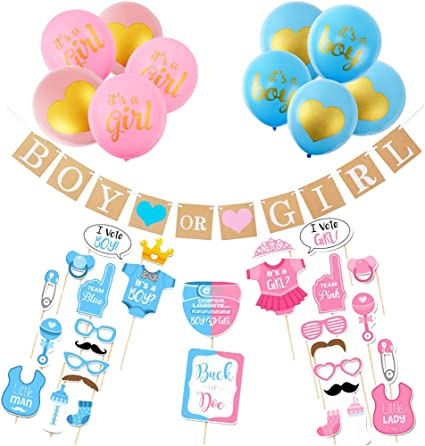 10Pcs Baby Gender Reveal Boy or Girl Latex Balloon Baby Shower Party Game Supply
