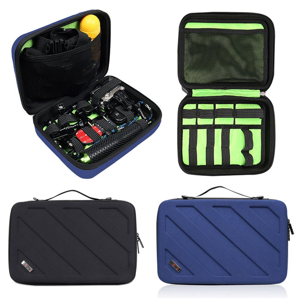 旅行GoProバッグアクションカメラケースforキャリーGoPro Hero 6、5、4とAkaso ek5000 V5 4 K WiFiアクションカメラアクセサリーバッグ整理ブルー B07CKHG12B